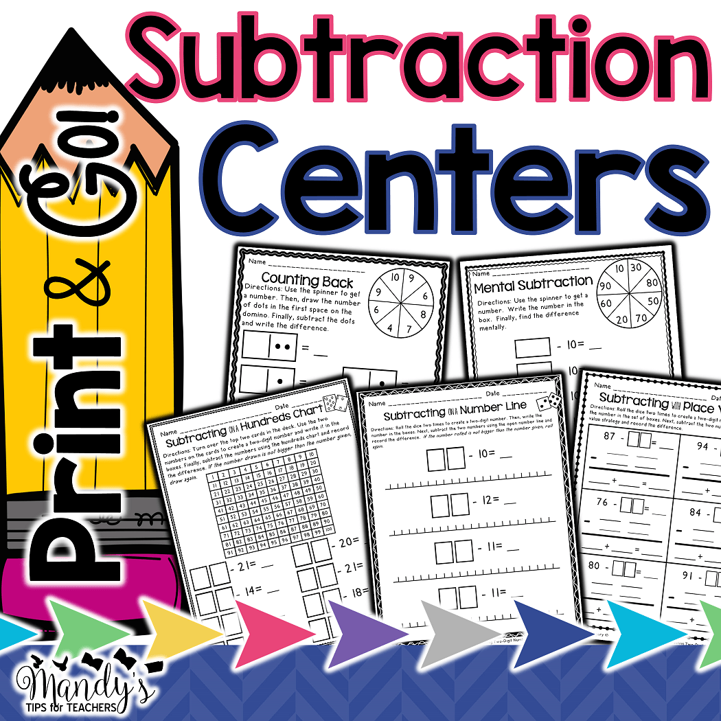 Print and Go! Subtraction Centers
