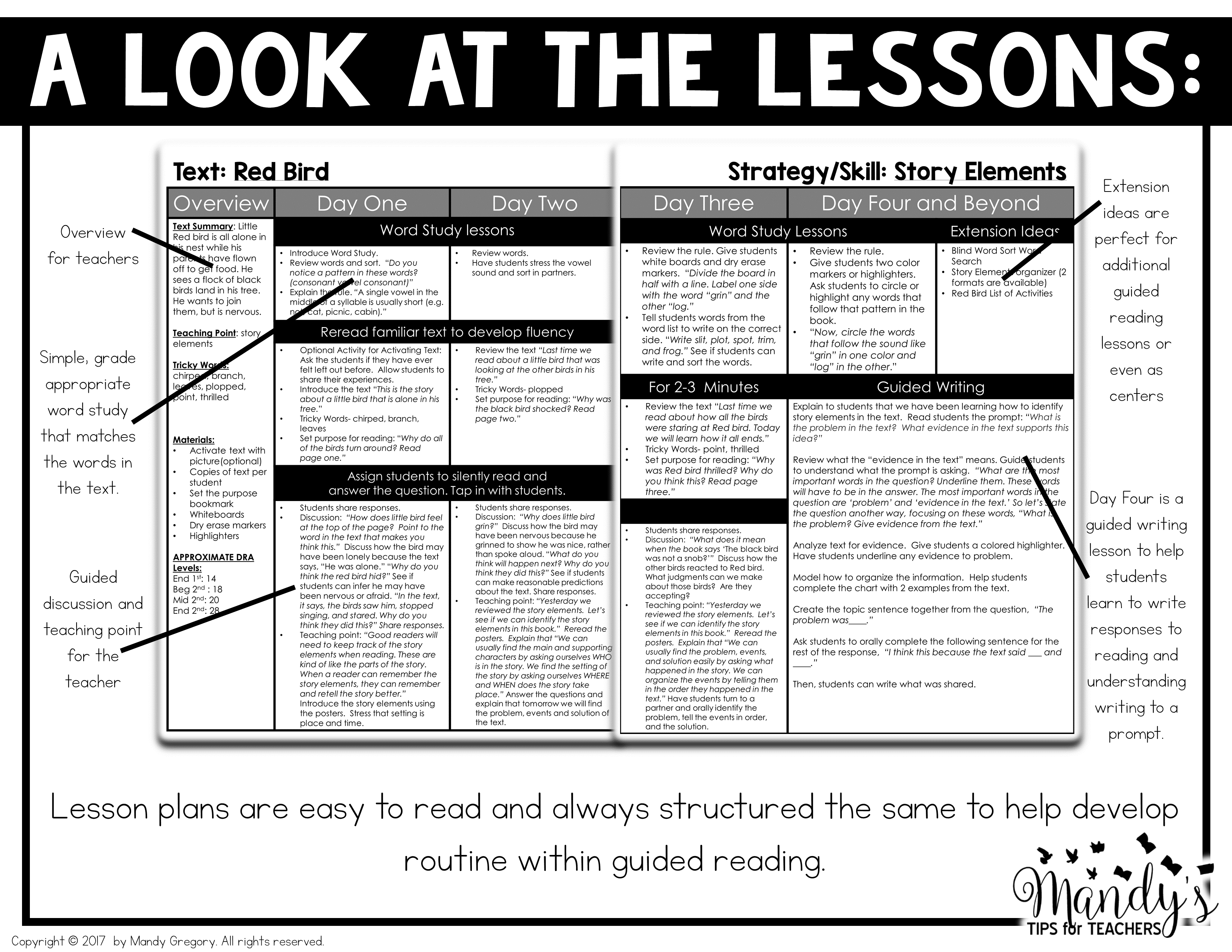 A closer look at the Mastering Guided Reading lesson plans