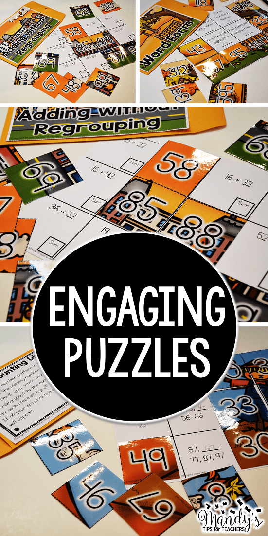 Students can solve different problems and then use the puzzle pieces to check!  Simple and FUN!
